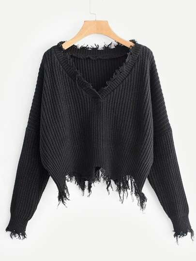 Frayed Trim Drop Shoulder Jumper 8e483467e