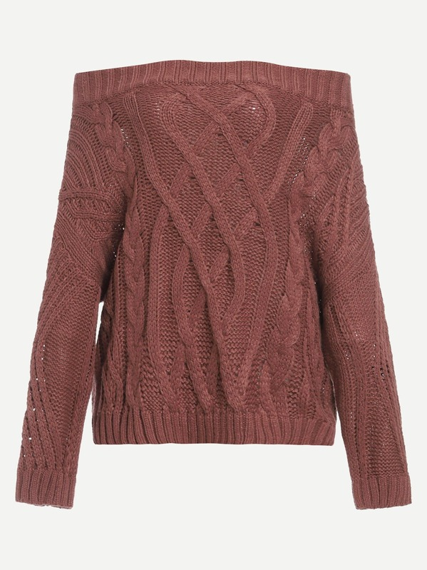 95a6cc31fea5 Off Shoulder Knit Sweater -SheIn(Sheinside)