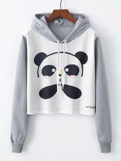 d6a8d8e998e5 Panda Print Drawstring Detail Sweatshirt