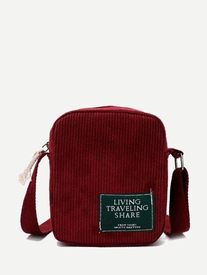 af798b401ca7 Ribbed Detail Slogan Patch Bag