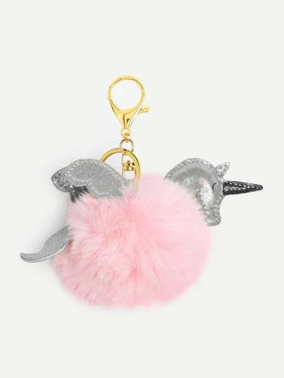 Unicorn Design Pom Pom Keychain