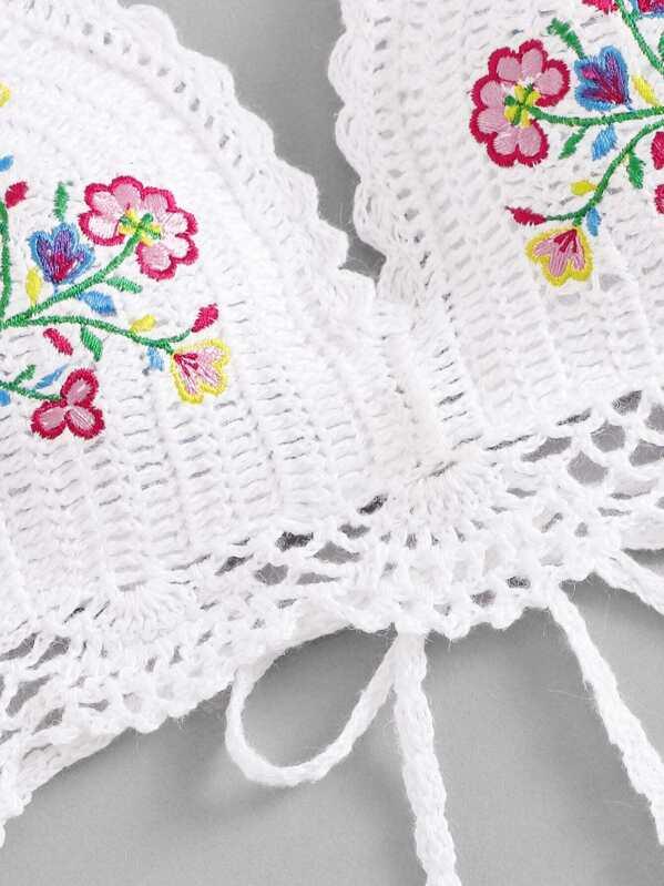 Set de bikini con bordado de croché mezclado y combinado-Spanish ...