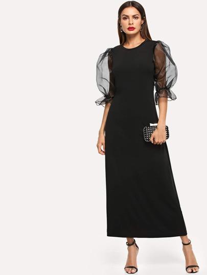 Vestito a manica lunga con rete a contrasto e1982fef3bc