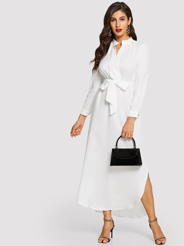 Tie Waist Curved Hem Midi Shirt Dress, White, Jeane