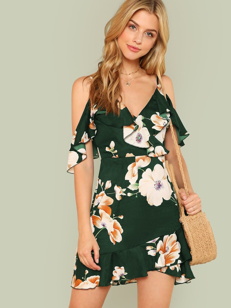 9df83d4d4b Flounce Cold Shoulder Floral Dress | SHEIN