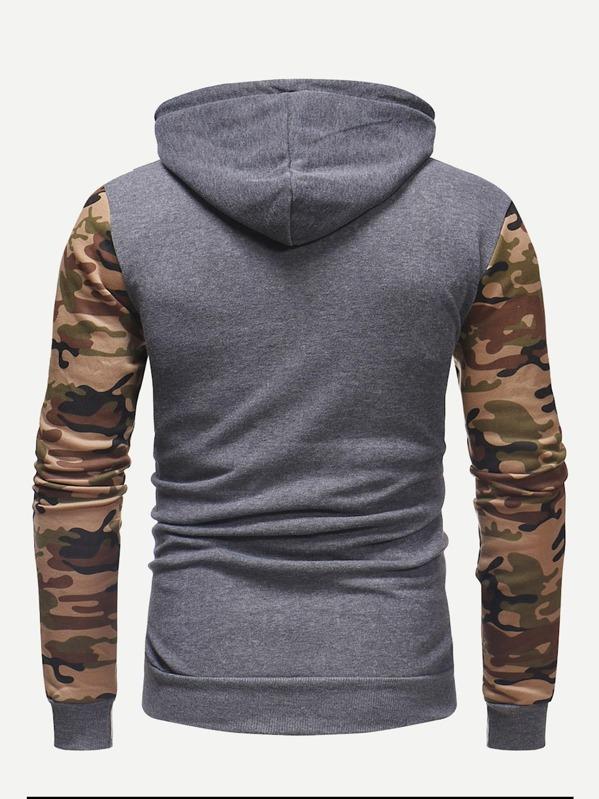 Men Contrast Camo Hooded Sweatshirt  3c46ecdeb71