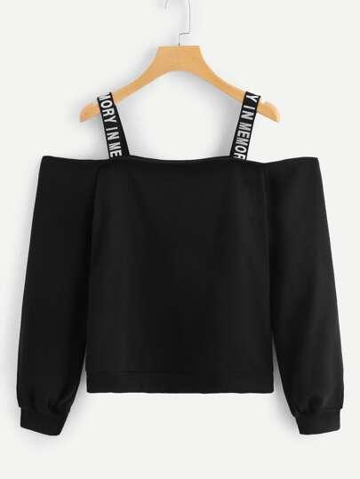 179a685573c Cold Shoulder Letter Taped Sweatshirt