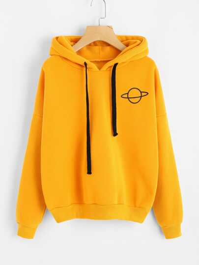 8a0fe8bc1007a Plus Planet Print Hooded Sweatshirt
