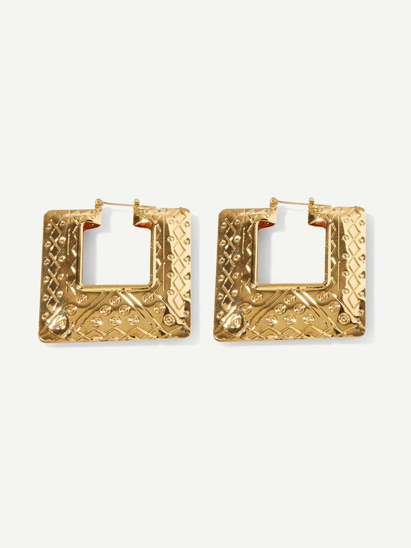 Textured Square Open Stud Earrings, Gold