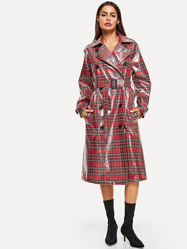 Belted Cuff And Waist Plaid Trench Coat by Shein