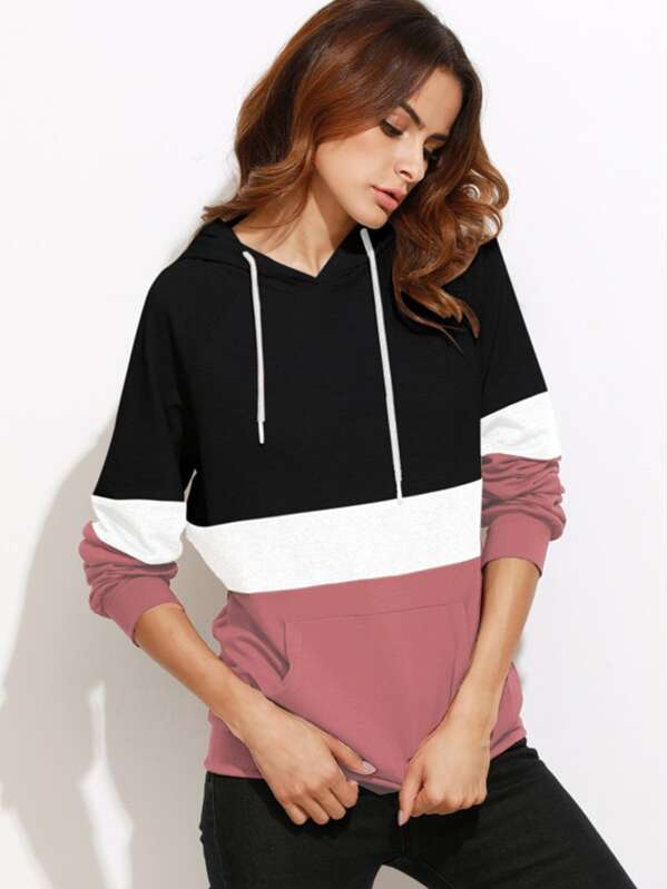 Cut And Sew Raglan Sleeve Pocket Hoodie by Shein