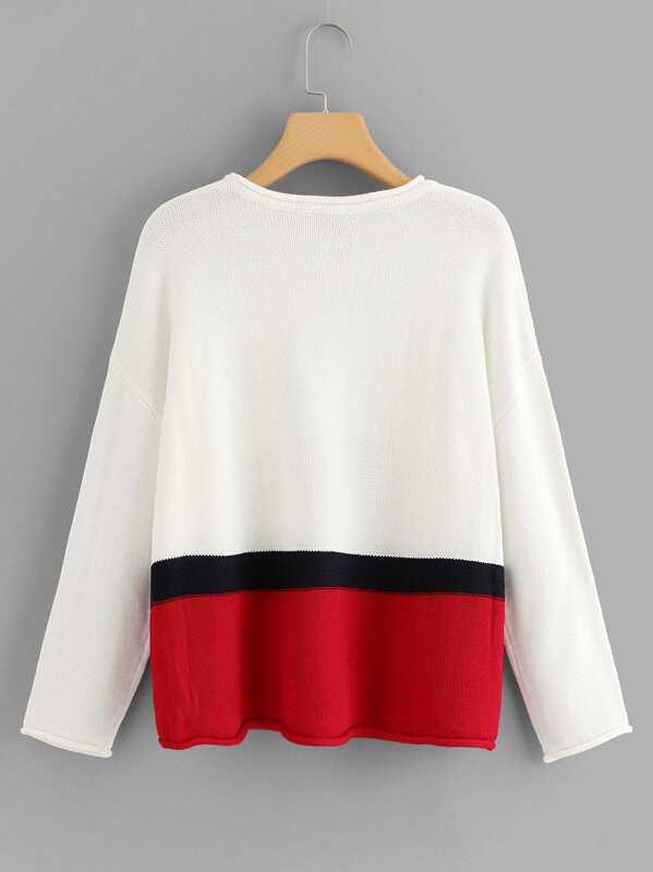 Color Block Drop Shoulder Sweater -SheIn(Sheinside) 6c0706ef66486
