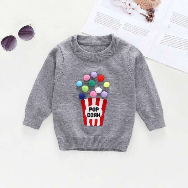 Toddler Girls Pom Pom Detail Letter Print Sweater