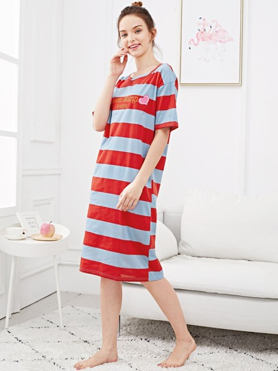 1e185129f3 Heart   Letter Print Striped Night Dress