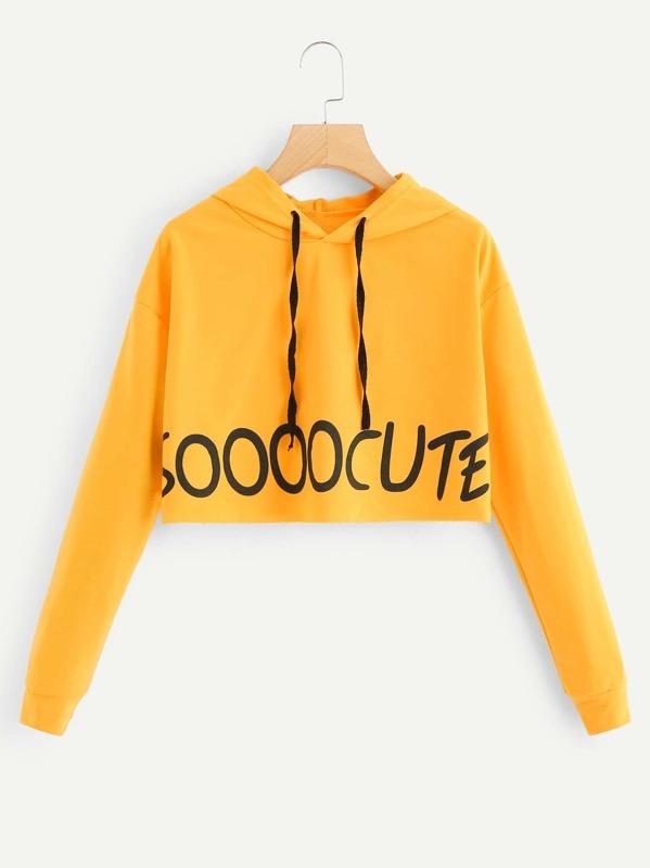 Letter Print Hooded Crop Sweatshirt by Sheinside
