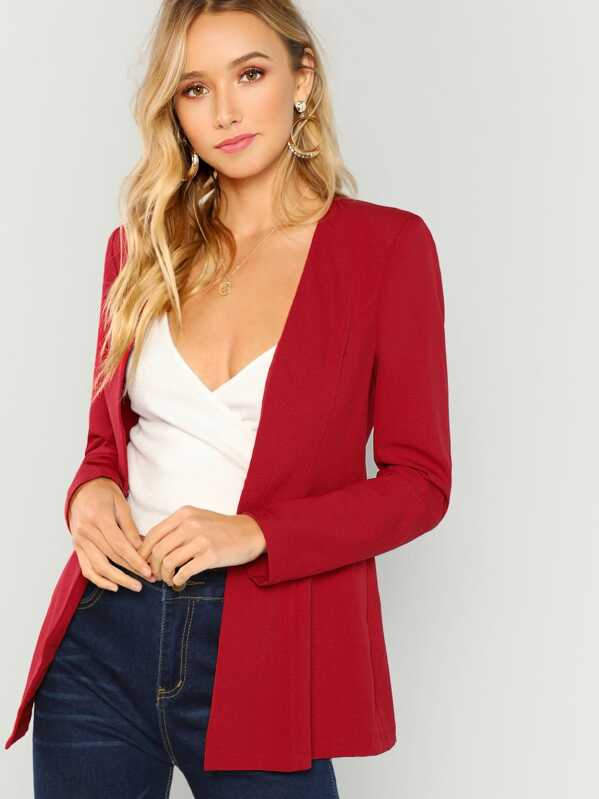 Hook and Eye Closure Fitted Blazer, Red, Racquelle Lawrence