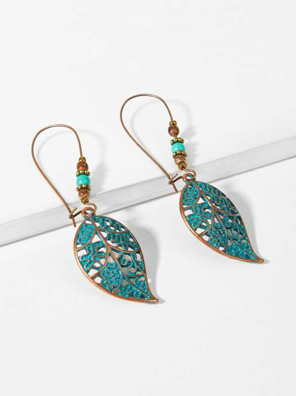 Leaf Beaded Hoop Earrings 1pair, Green