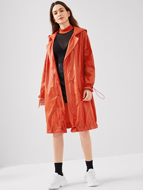 Drawstring Cuff And Hem Button Up Raincoat by Shein