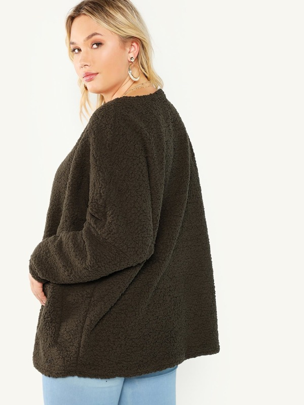 6d4f094cb4a Plus Pocket Front Fluffy Coat