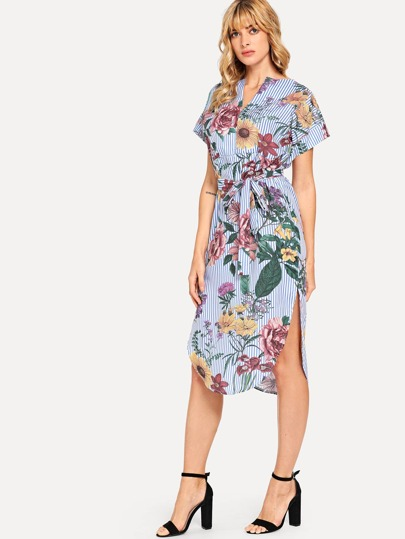 de3f329691 Vestido estilo blusa bajo curvo de rayas block-Spanish SheIn(Sheinside)