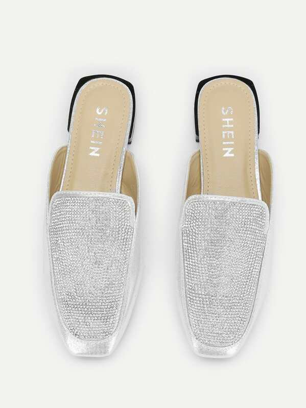 Zapatillas mule de punta cuadrada con diseño de diamante de imitación
