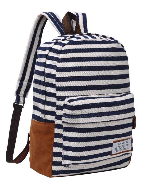 Striped Canvas Backpack -SheIn(Sheinside) 7b561e8d6e74e