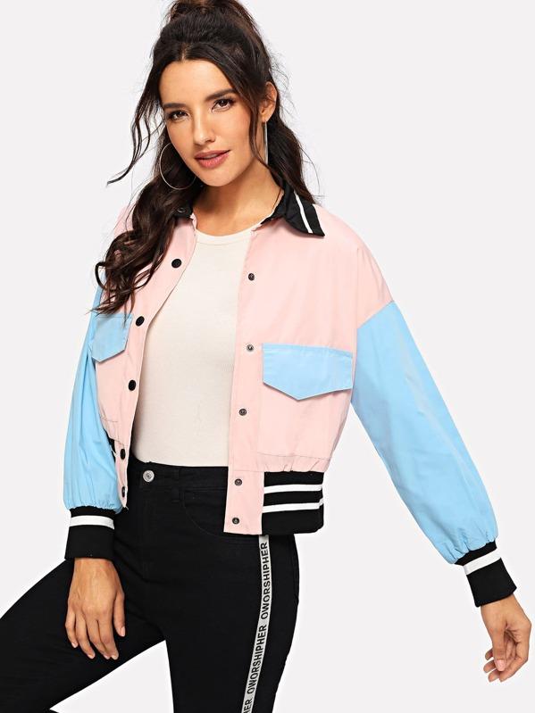 Drop Shoulder Color Block Bomber Jacket by Sheinside