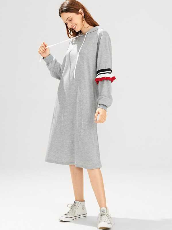 Contrast Ruffle Hooded Dress by Sheinside