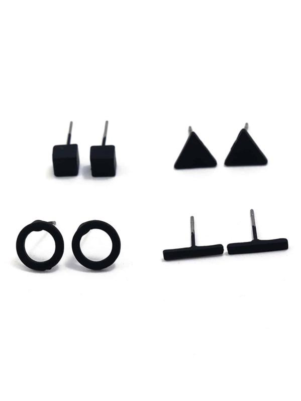 Bar & Circle Stud Earrings 4pairs by Sheinside