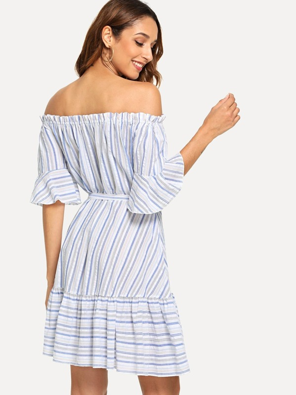 71a3a99b1ba4 Ruffle Trim Belted Striped Bardot Dress -SheIn(Sheinside)