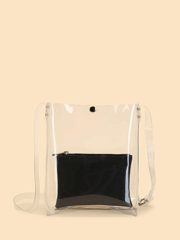Clear Design Combination Bag 2pcs by Sheinside