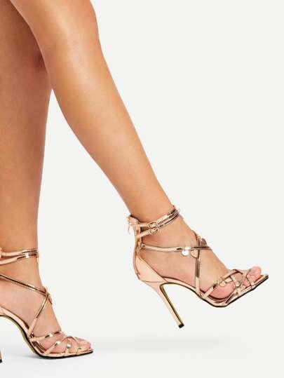 990465be2378 Sequin Charm Detail Back Zipper PU Heels