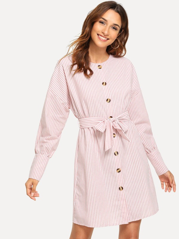 Belted Single Breasted Striped Shirt Dress