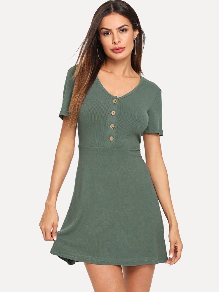 bc01c031c2 Button Up Ribbed Knit Dress | SHEIN