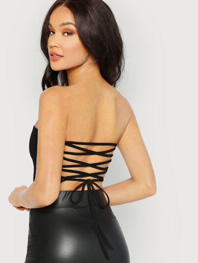 e62bd0b440 Lace Up Back Crop Bandeau Top
