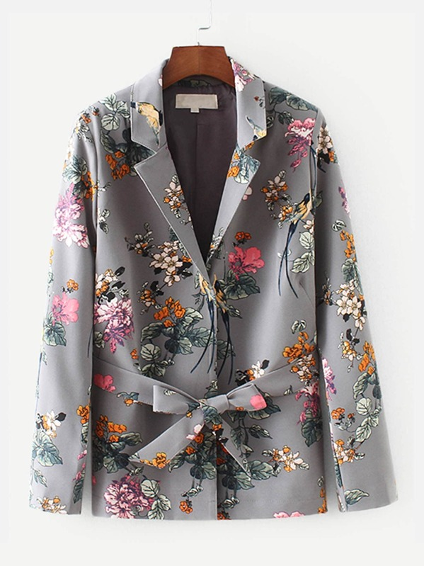 Allover Florals Self Tie Blazer, Multicolor