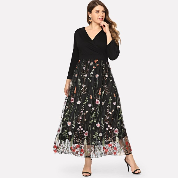 Plus Floral Embroidered Mesh Panel Dress, Black