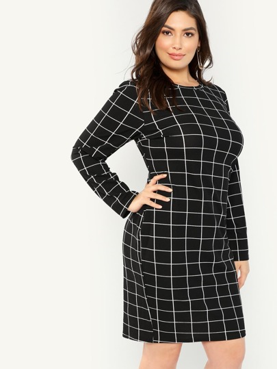 85c2a7463c33 Plus Grid Print Pencil Dress