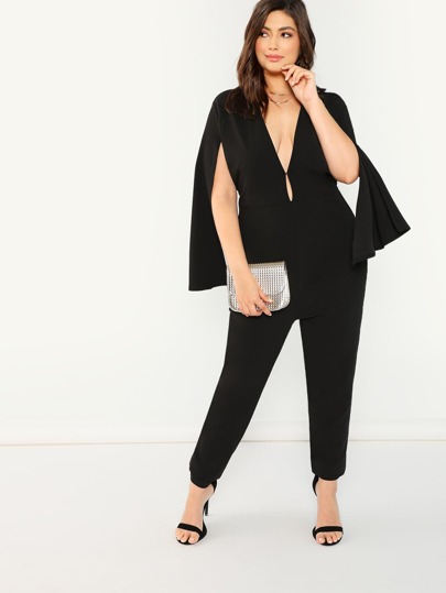 Plus Plunging Neck Cape Sleeve Jumpsuit Sheinsheinside