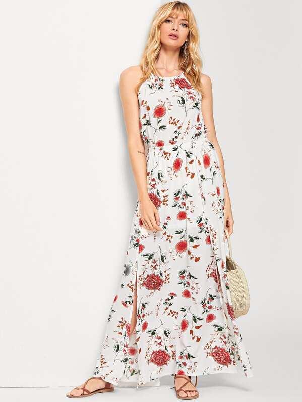 035f49873b42 Halterneck Maxi Floral Dress -SheIn(Sheinside)