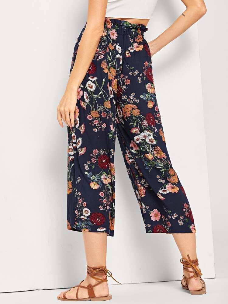 negozio online 98b86 3203e Pantaloni floreali a gamba dritta in vita con coulisse
