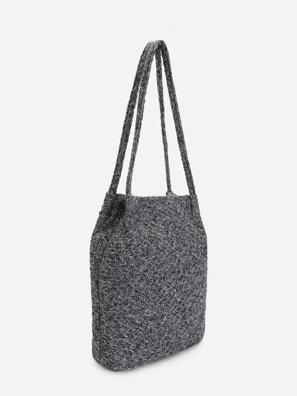 Bolsa de mano de croché con doble asa-Spanish SheIn(Sheinside)