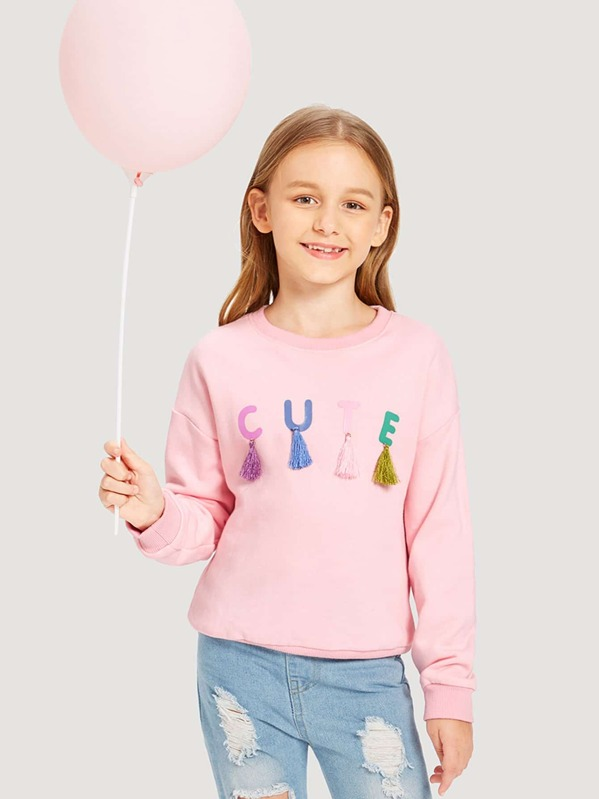 Girls Letter With Tassel Detail Sweatshirt