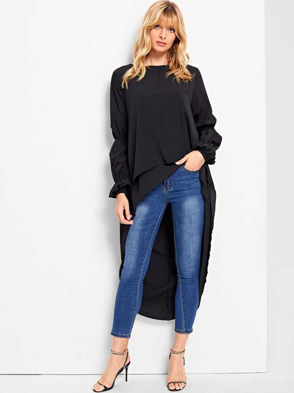 High Low Solid Blouse by Sheinside