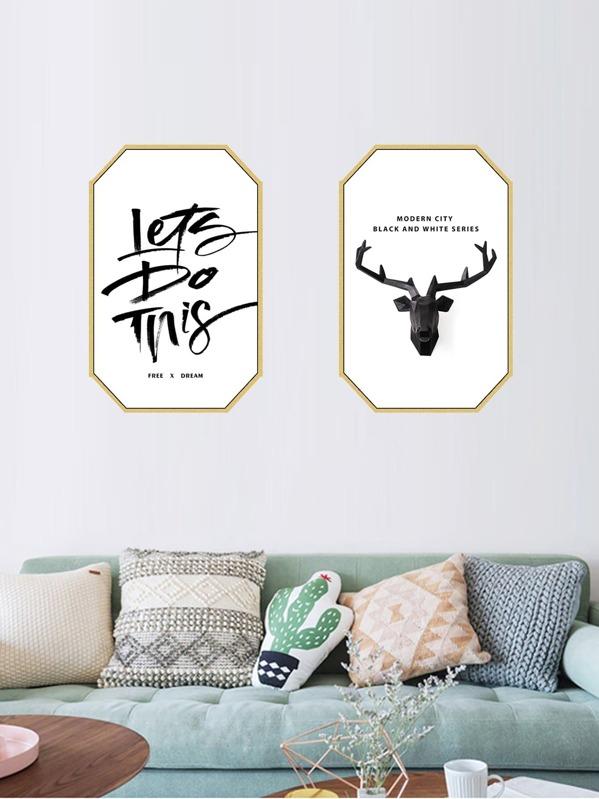 Animal & Letter Print Cloth Wall Art 2pcs - imall.com