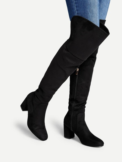 ebb8ab85be7 Block Heeled Thigh High Suede Boots