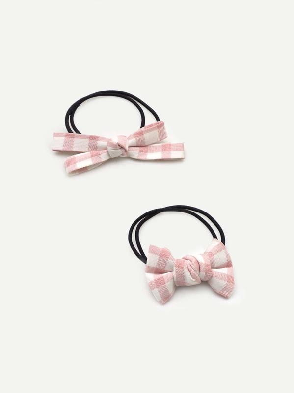 Girls Bow Decorated Gingham Hair Tie 2pcs -SheIn(Sheinside) 2f4a10450e0