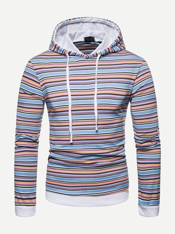 Men Colorful Striped Hooded Sweatshirt