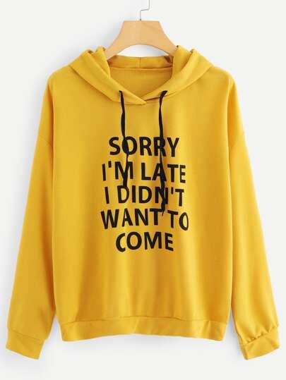 f0e5d64ec0d Plus Letter Print Drop Shoulder Sweatshirt