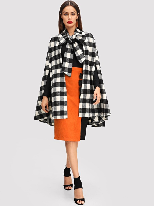 Tied Neck Plaid Longline Coat, Black and white, Andy